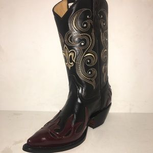 MEN'S COWBOY BOOTS 100% REAL LEATHER WINE COLOR